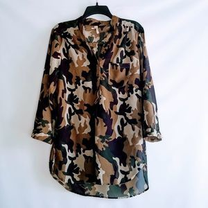 TRUTH NYC Camo 3/4 Sleeve Sheer Blouse Size L